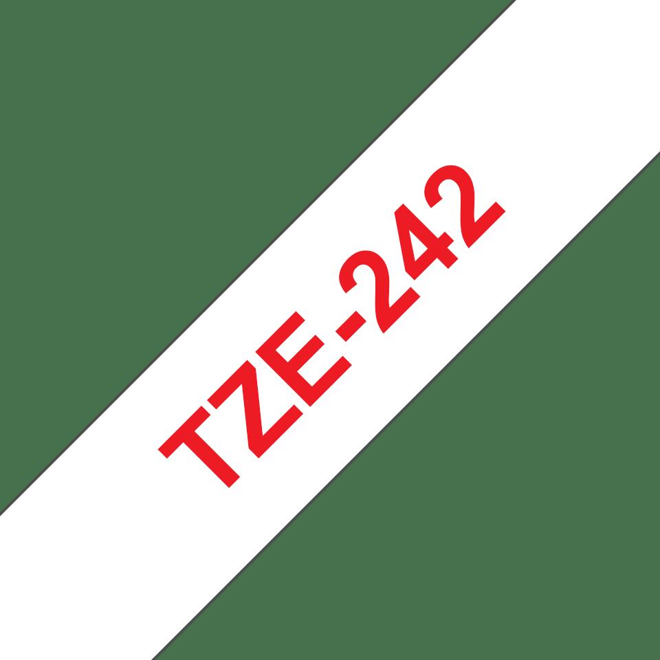 Brother TZe242 etikettape, röd på vit – 18 mm 3