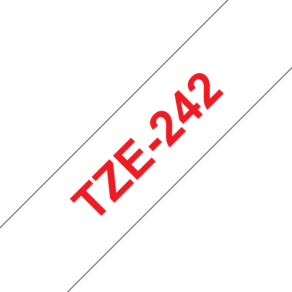 Brother TZe242 etikettape, röd på vit – 18 mm 3