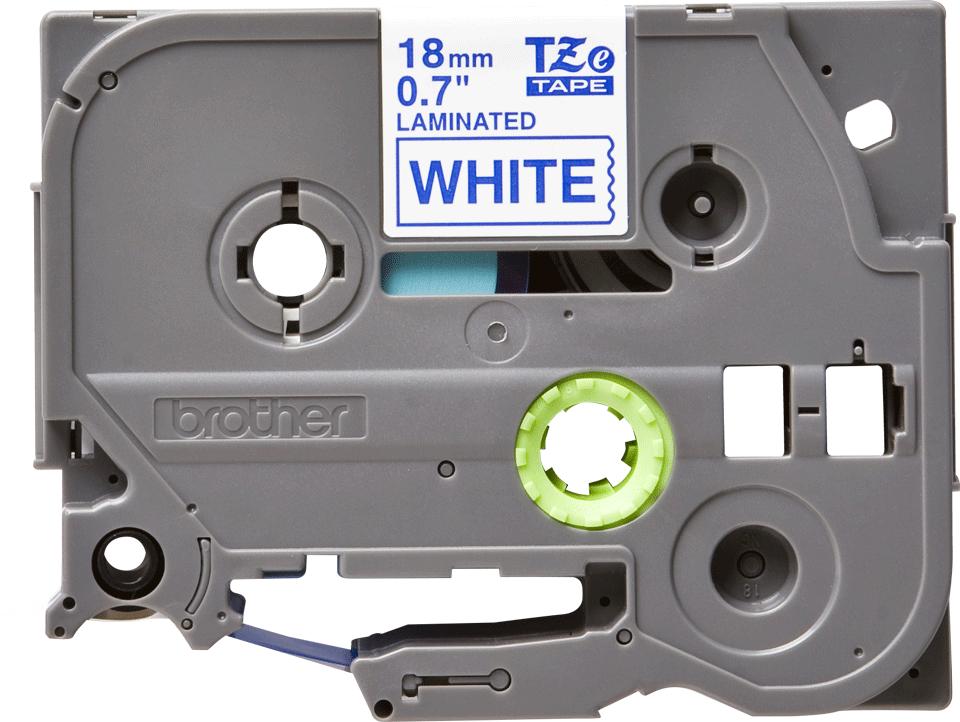 Brother TZe243 original etikettape, blå på vit, 18 mm