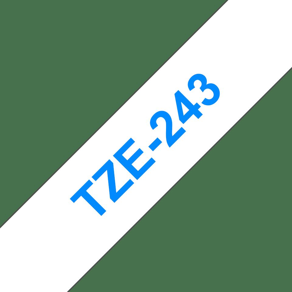 Brother TZe243 original etikettape, blå på vit, 18 mm  3