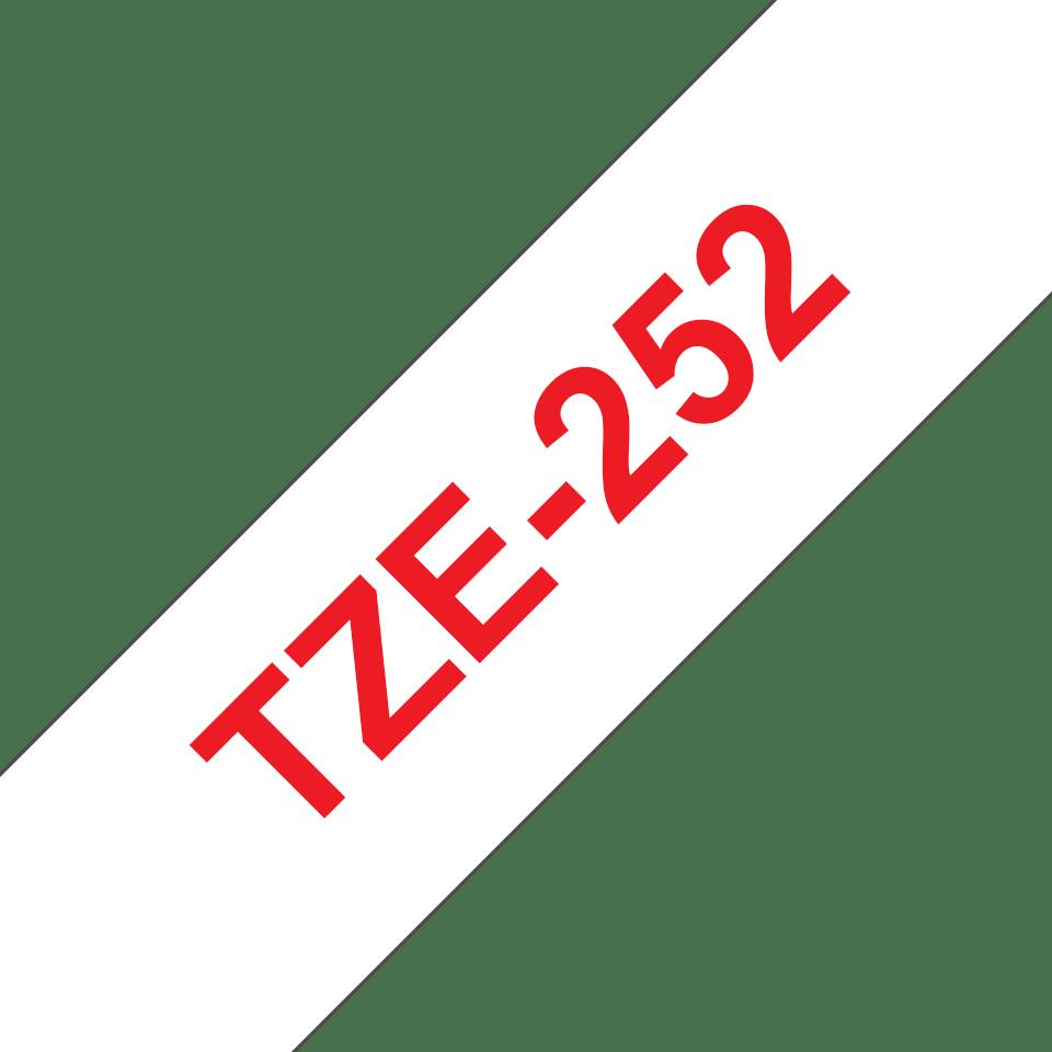 Brother TZe252 original etikettape, röd på vit, 24 mm  3