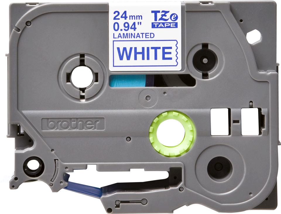 Brother TZe253 original etikettape, blå på vit, 24 mm