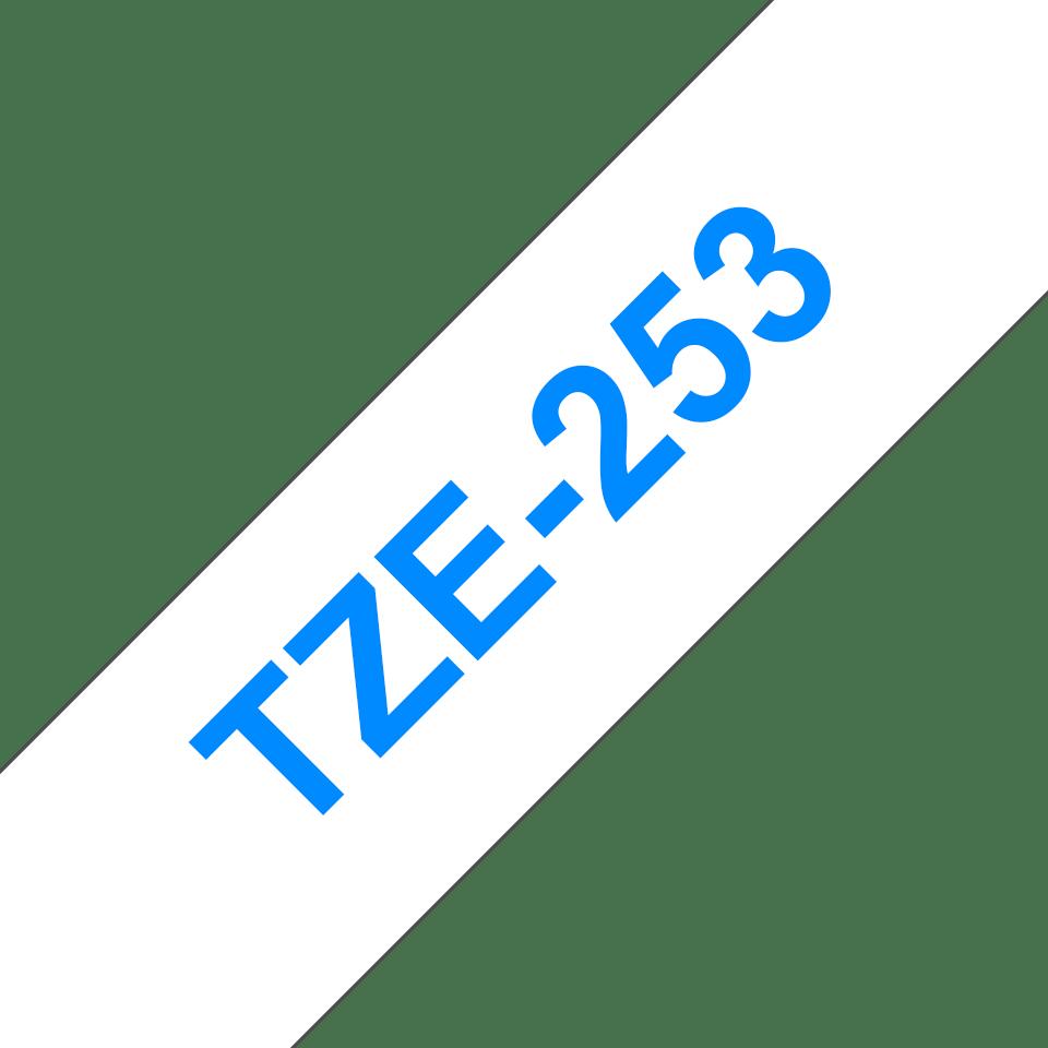 Brother TZe253 original etikettape, blå på vit, 24 mm  3