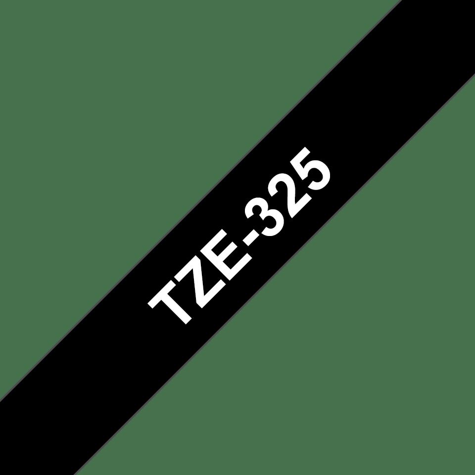 Brother TZe325 original etikettape, vit på svart, 9 mm  3