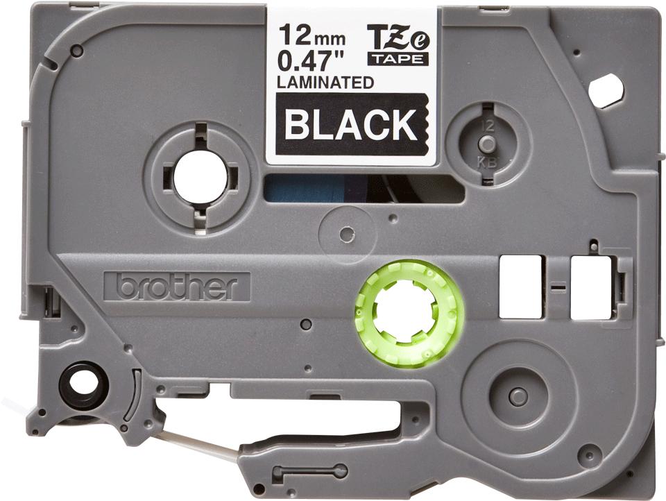 Brother TZe-335 original etikettape – svart på vit, 12 mm bred