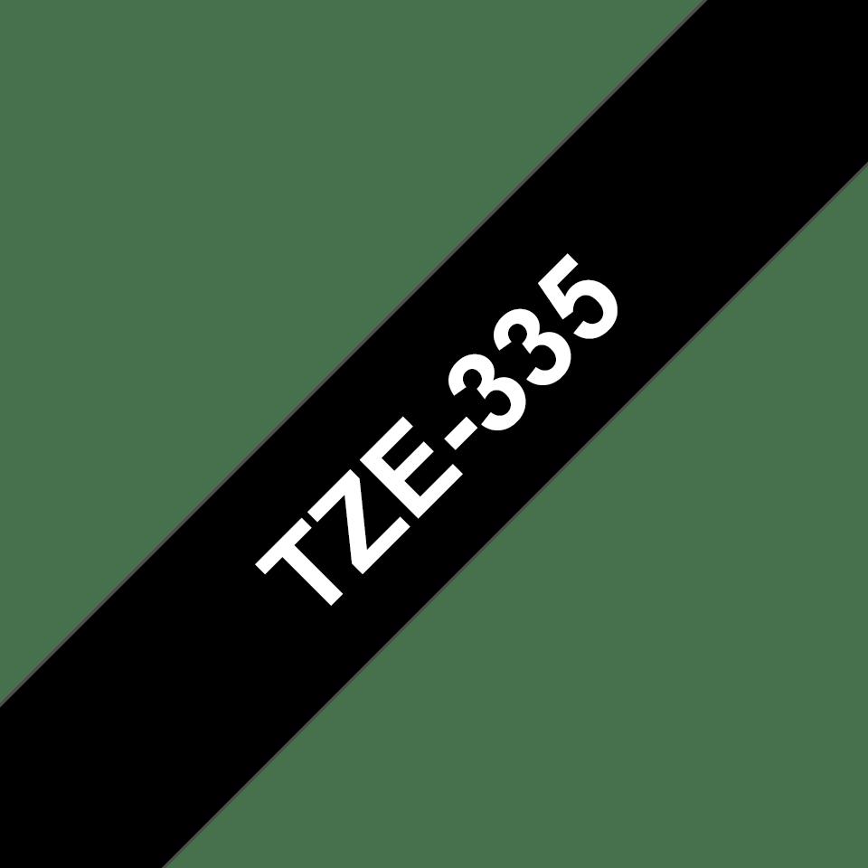Brother TZe-335 original etikettape – svart på vit, 12 mm bred 3