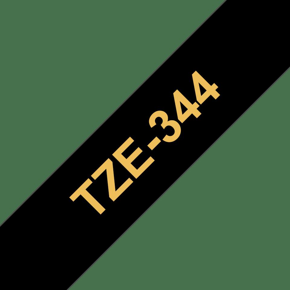 Brother TZe344 original etikettape, guld på svart, 18 mm  3
