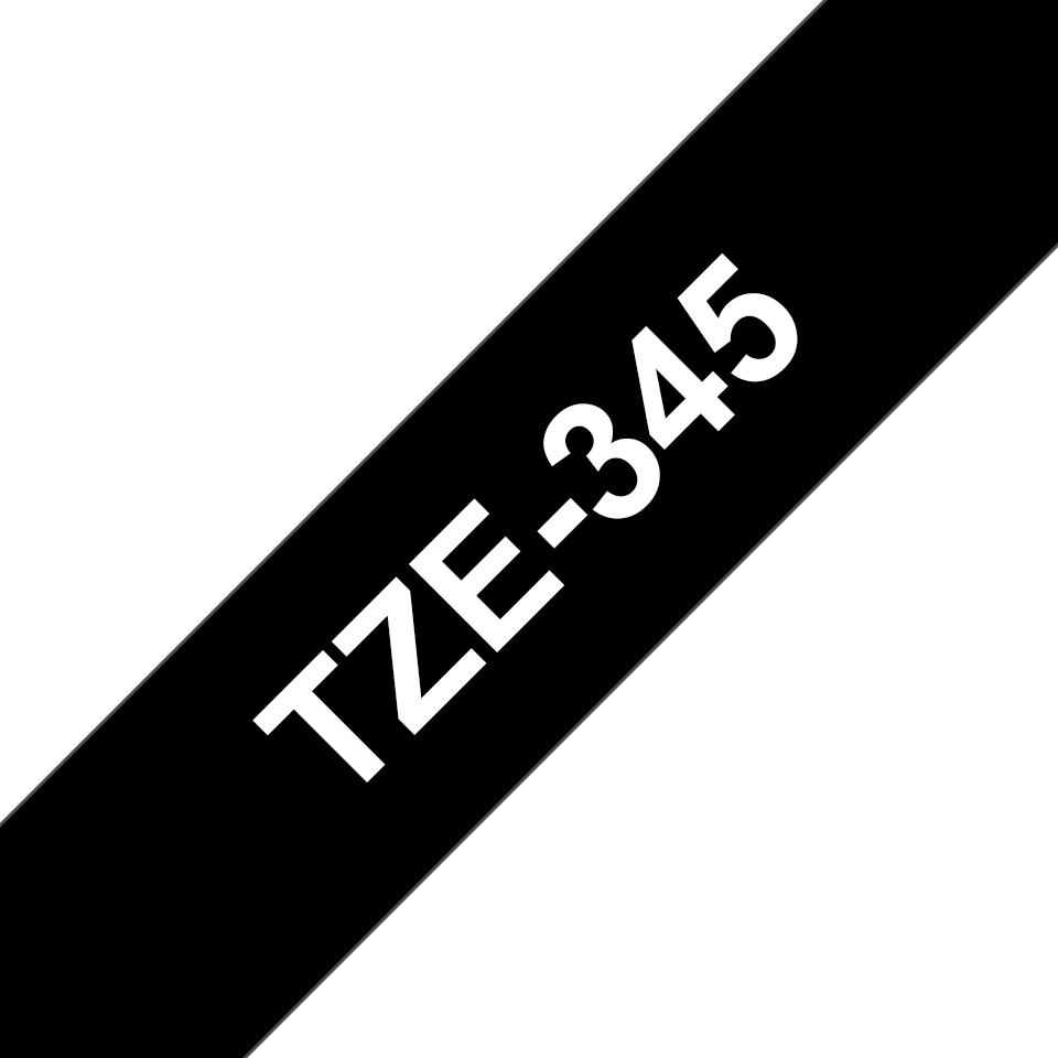 Brother TZe345 original etikettape, vit på svart, 18 mm  3