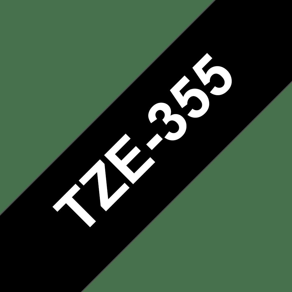 Brother TZe355 original etikettape, vit på svart, 24 mm  3