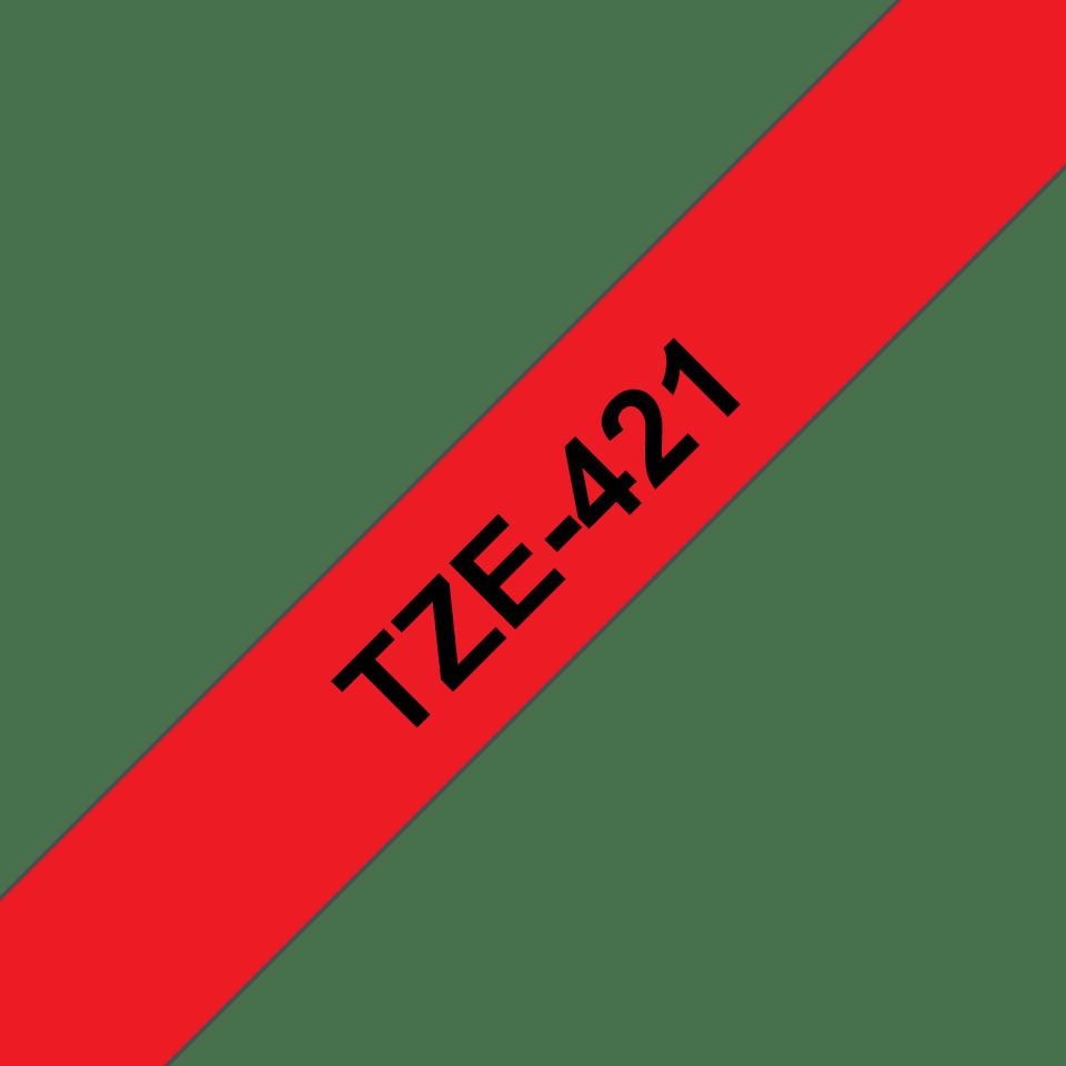 Brother TZe421 original etikettape, svart på röd, 9 mm  3