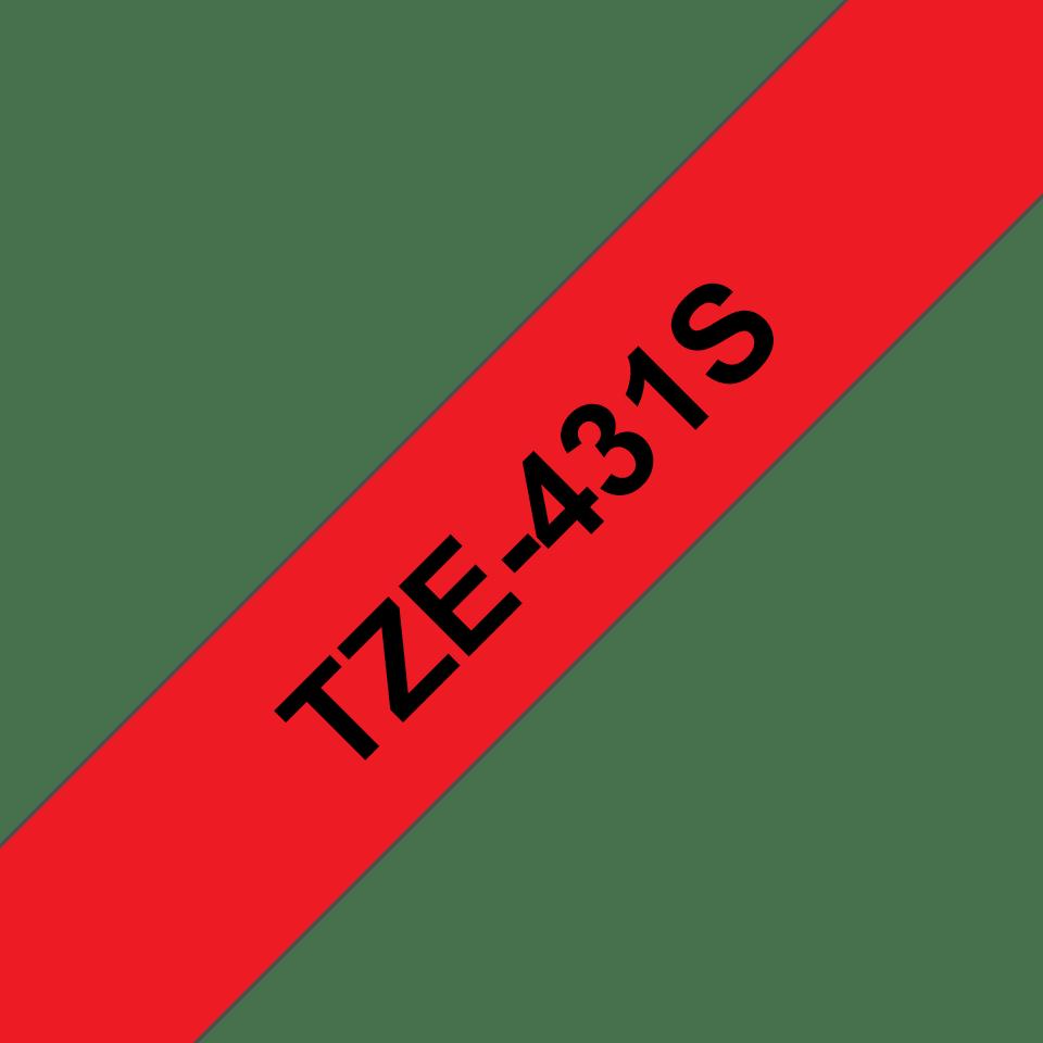 Brother TZe431S original etikettape, svart på röd, 12 mm  3