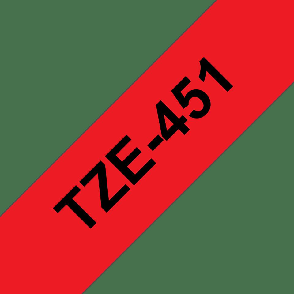 Brother TZe451 original etikettape, svart på röd, 24 mm  3