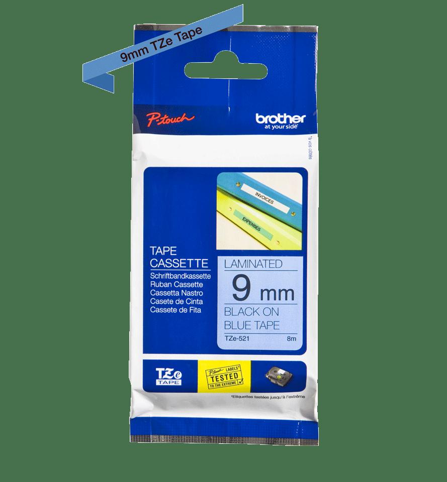 Brother TZe521 original etikettape, svart på blå, 9 mm 2