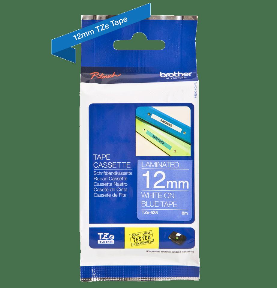 Brother TZe535 original etikettape, vit på blå, 12 mm 2