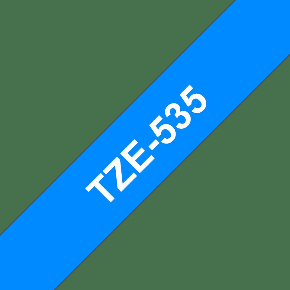 Brother TZe535 original etikettape, vit på blå, 12 mm 3