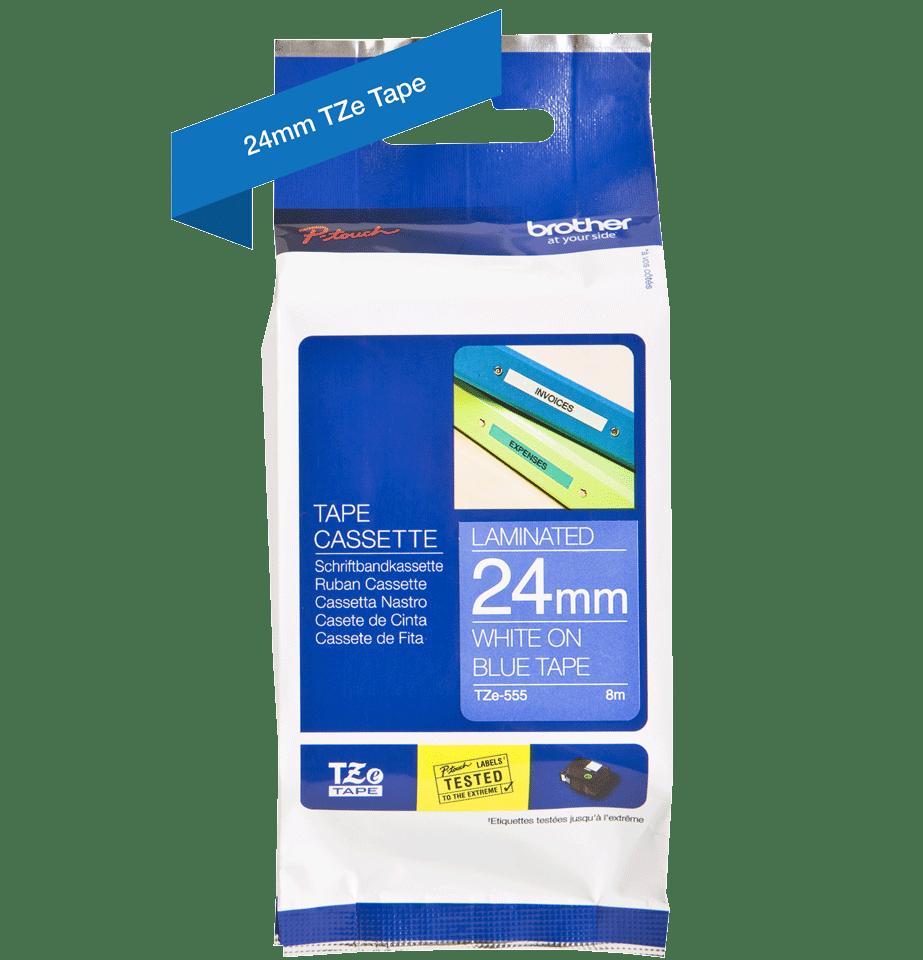 Brother TZe555 original etikettape, vit på blå, 24 mm 2