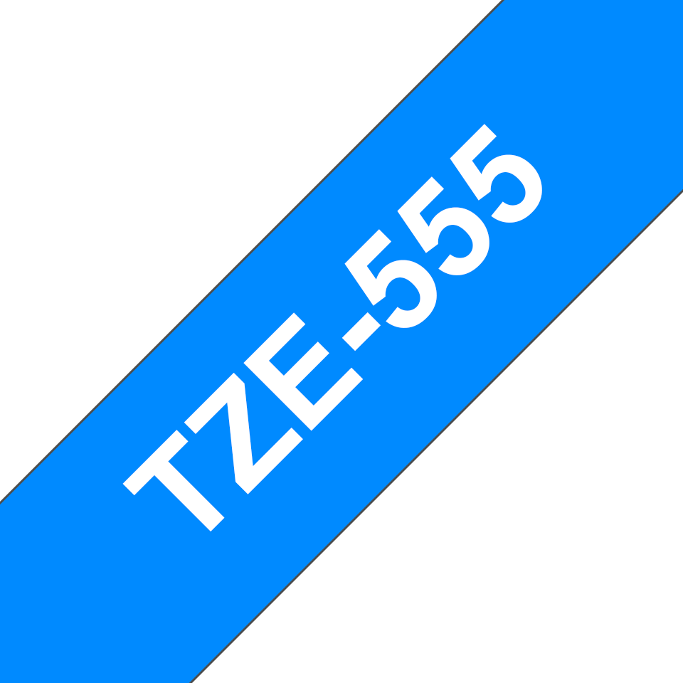 Brother TZe555 original etikettape, vit på blå, 24 mm 3