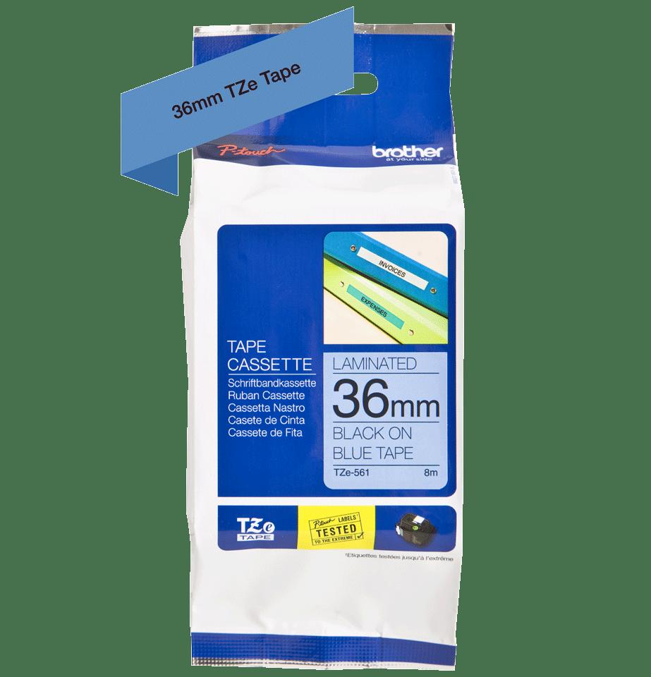 Brother TZe561 original etikettape, svart på blå, 36 mm 2