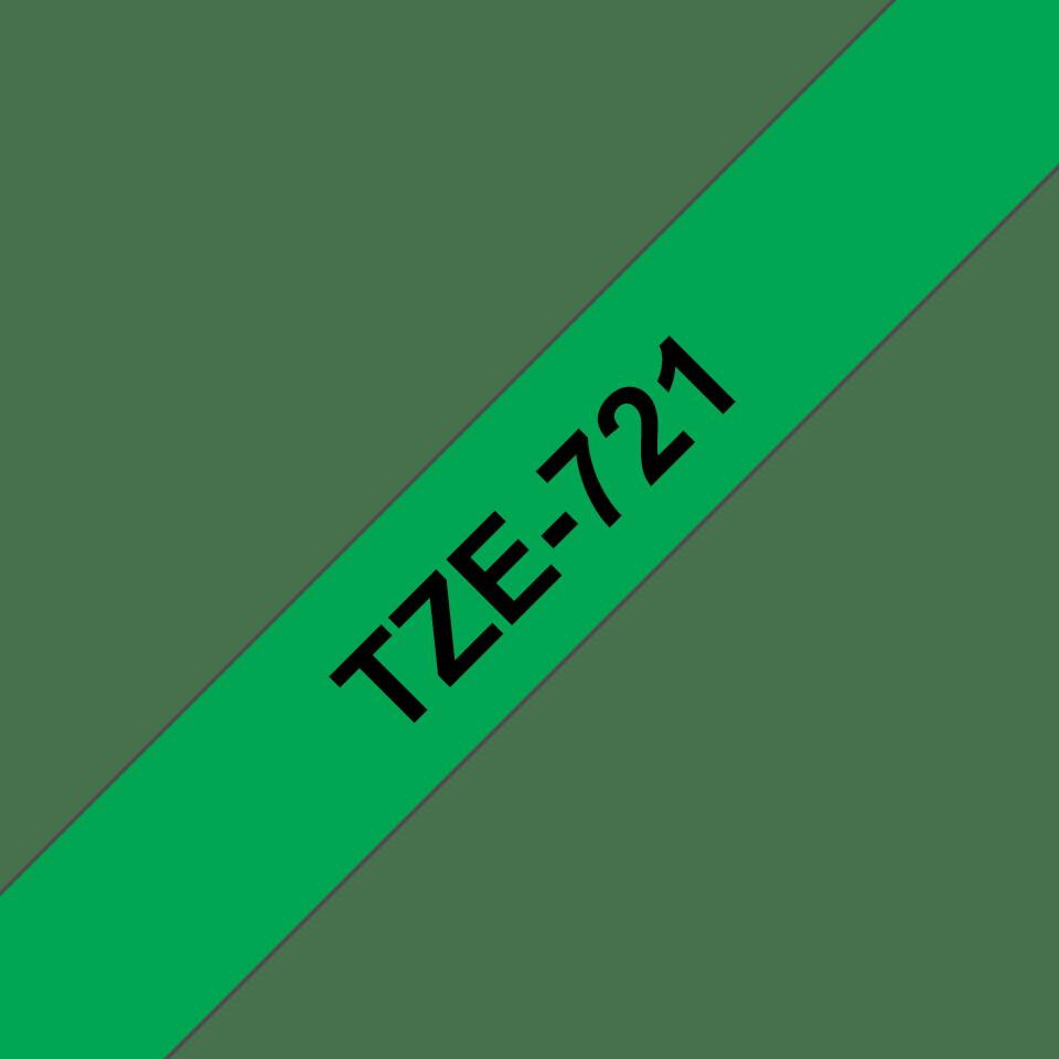 Brother TZe721 original etikettape, svart på grön, 9 mm  3