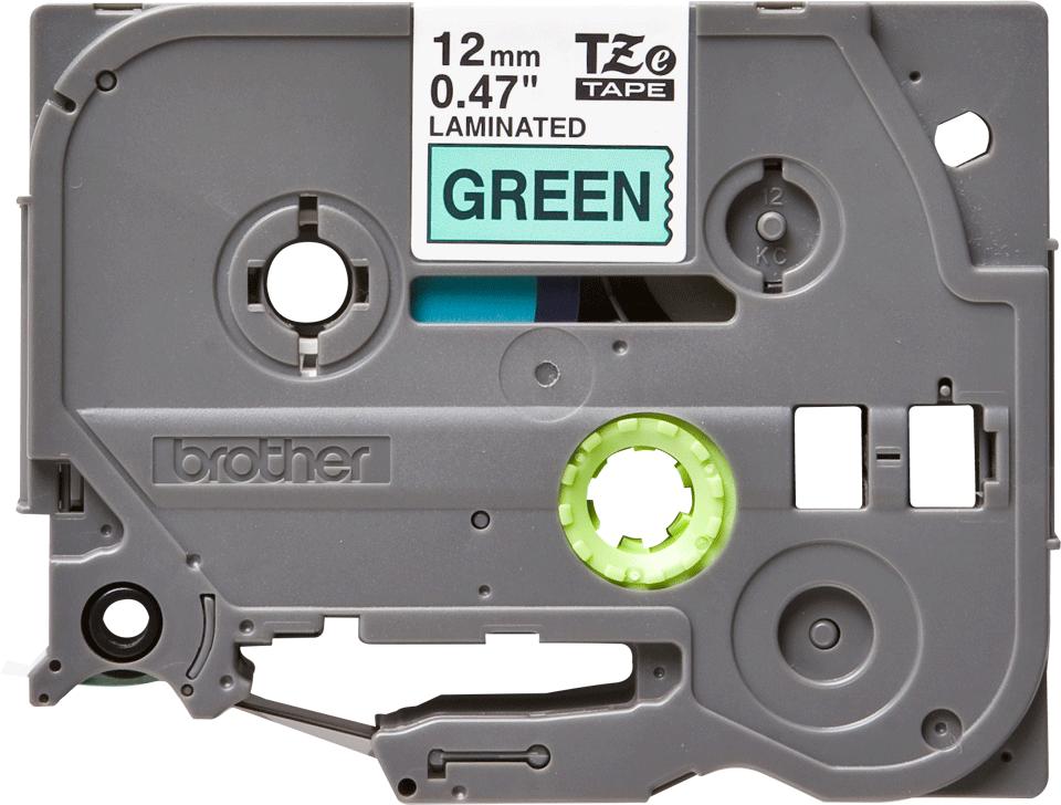 Brother TZe731 original etikettape, svart på grön, 12 mm