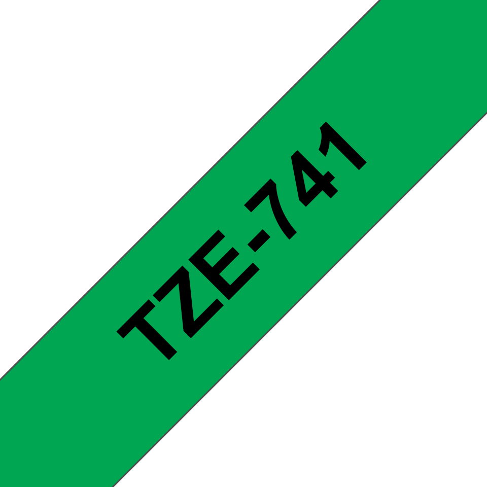 Brother TZe741 original etikettape, svart på grön, 18 mm  3