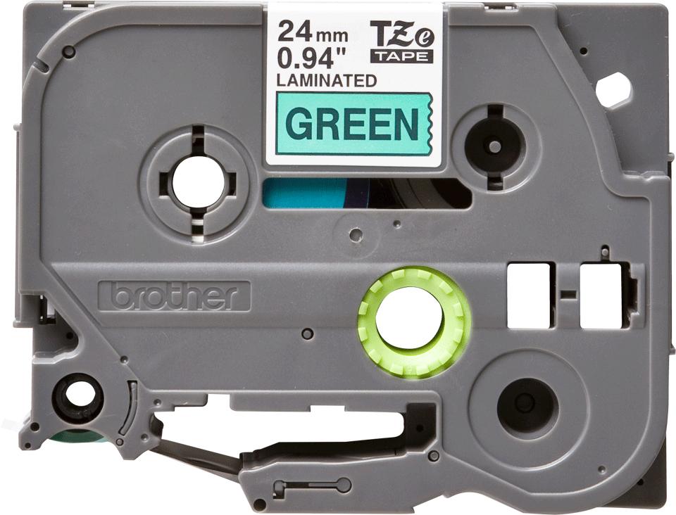 Brother TZe751 original etikettape, svart på grön, 24 mm