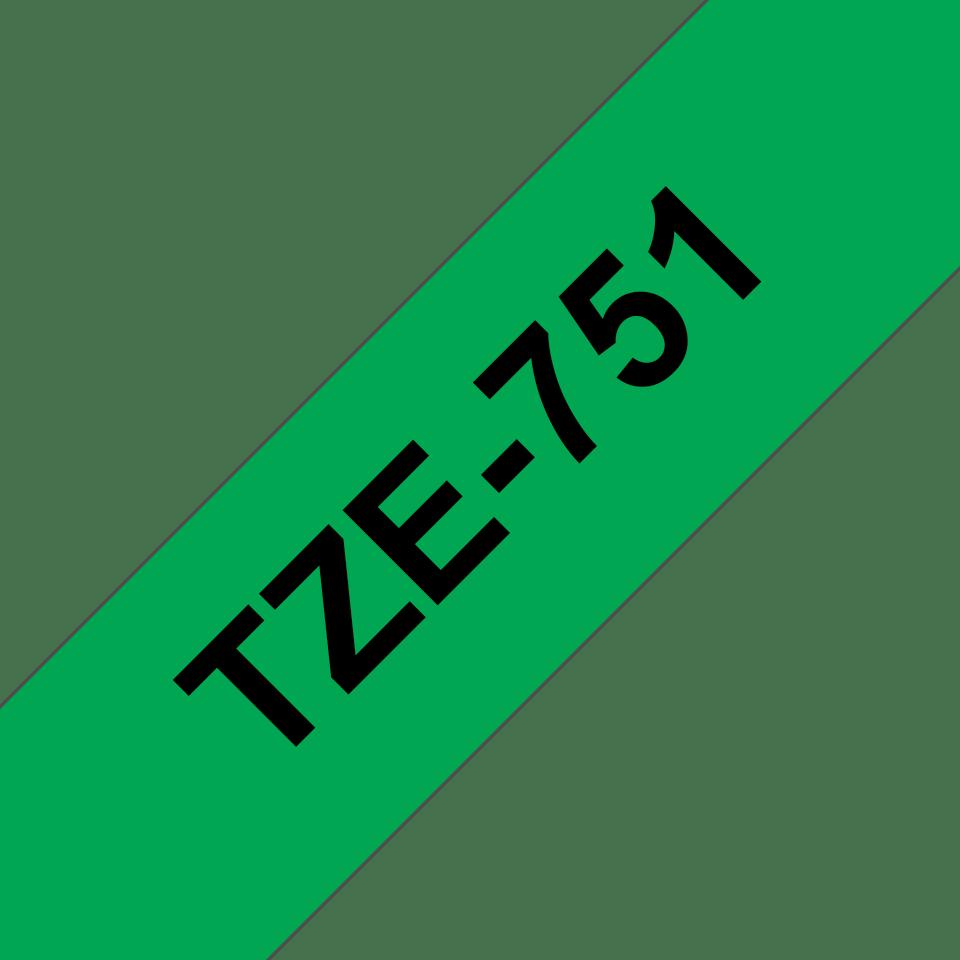 Brother TZe751 original etikettape, svart på grön, 24 mm  3