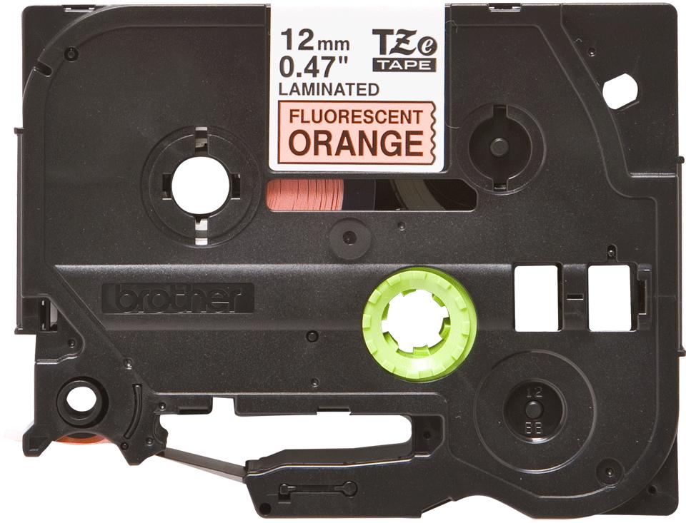 Brother TZe-B31 original etikettape - svart på fluorescerande orange laminerad, 12 mm bred 0