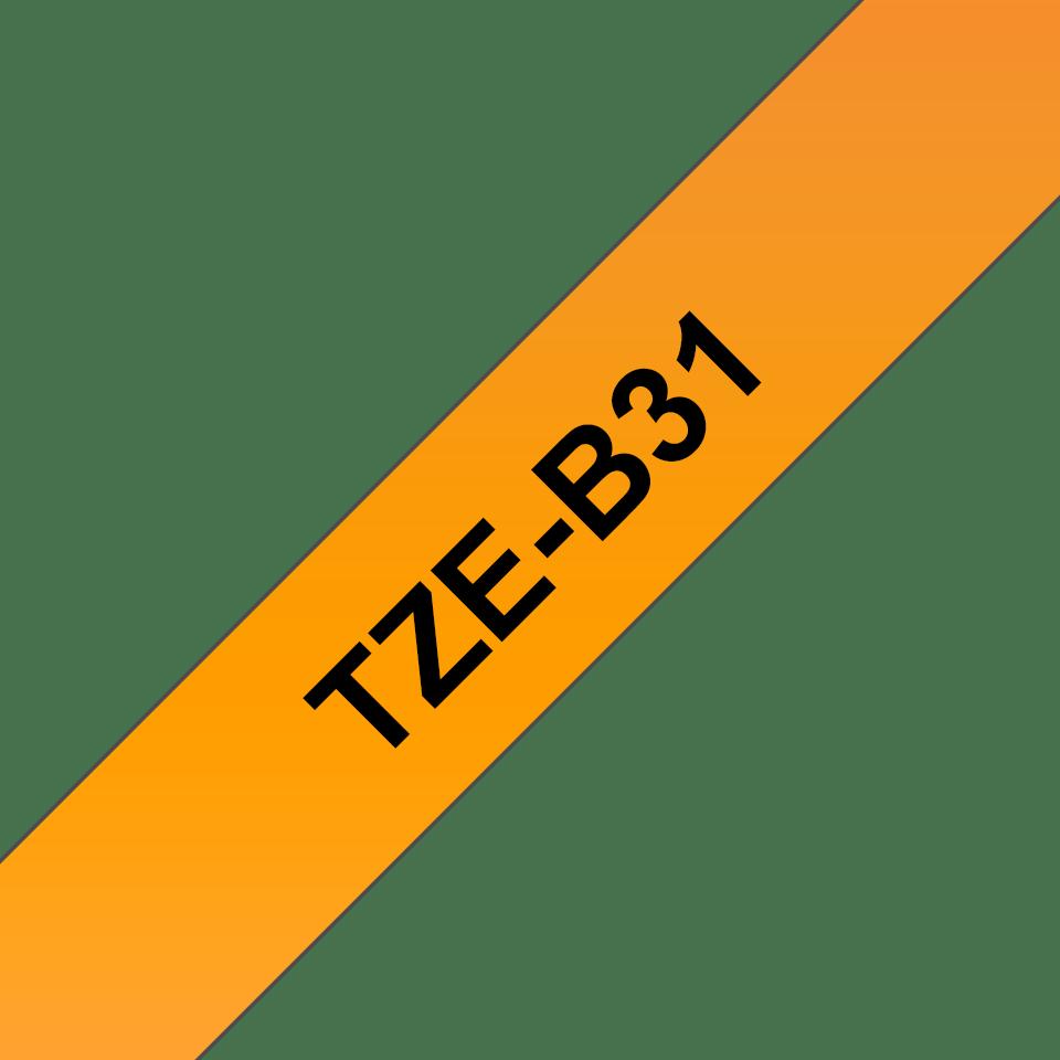Brother TZe-B31 original etikettape - svart på fluorescerande orange laminerad, 12 mm bred 2