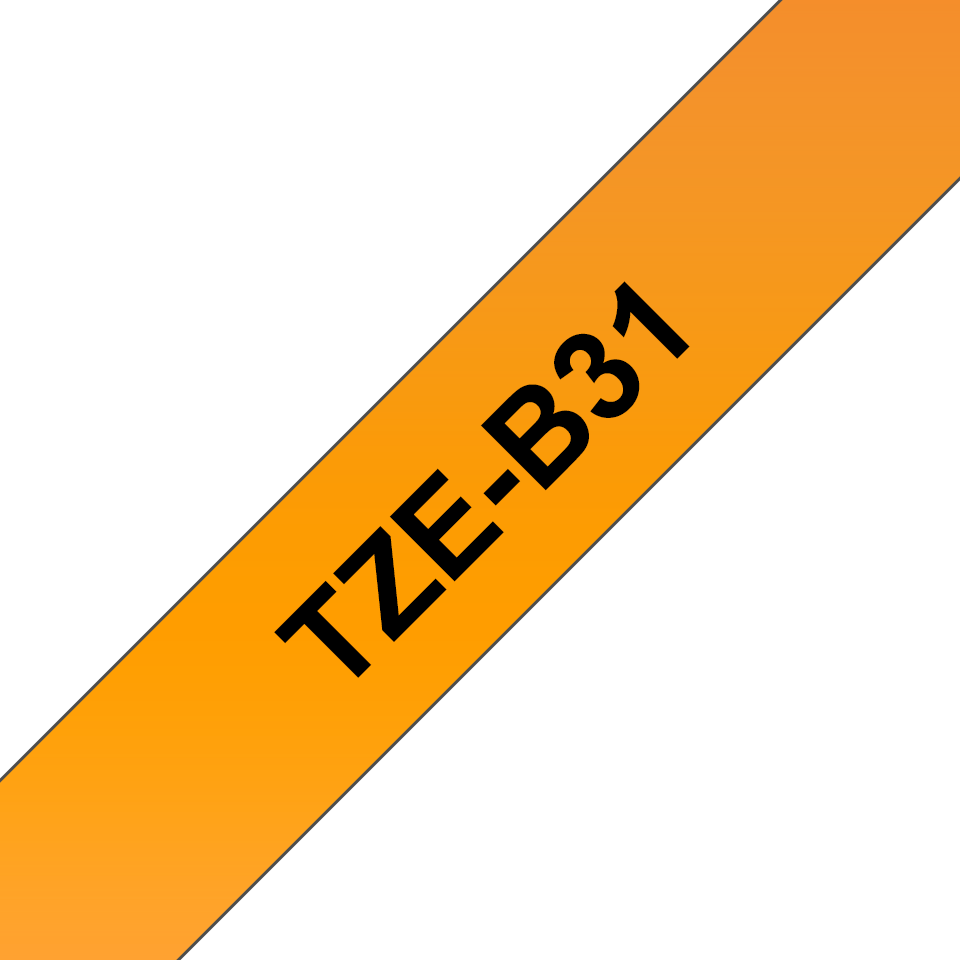 Brother TZe-B31 original etikettape - svart på fluorescerande orange laminerad, 12 mm bred 3