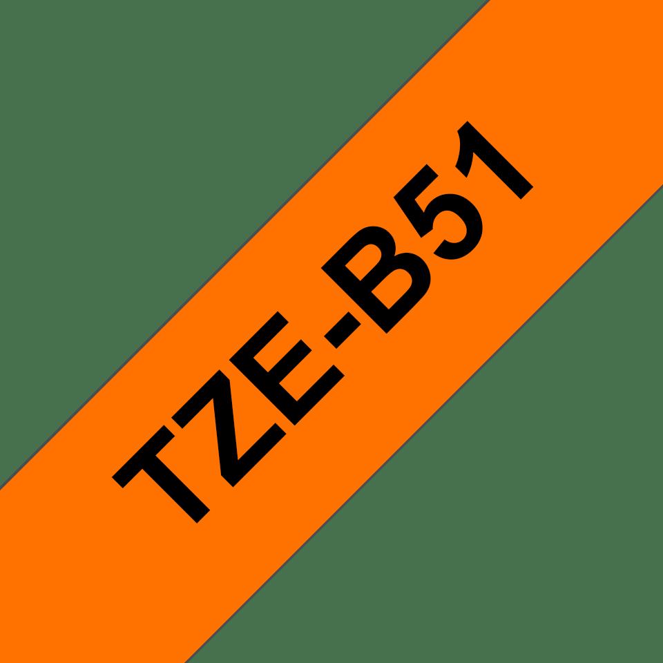 Brother TZeB51 original etikettape, svart på fluorescerande orange, 24 mm 3