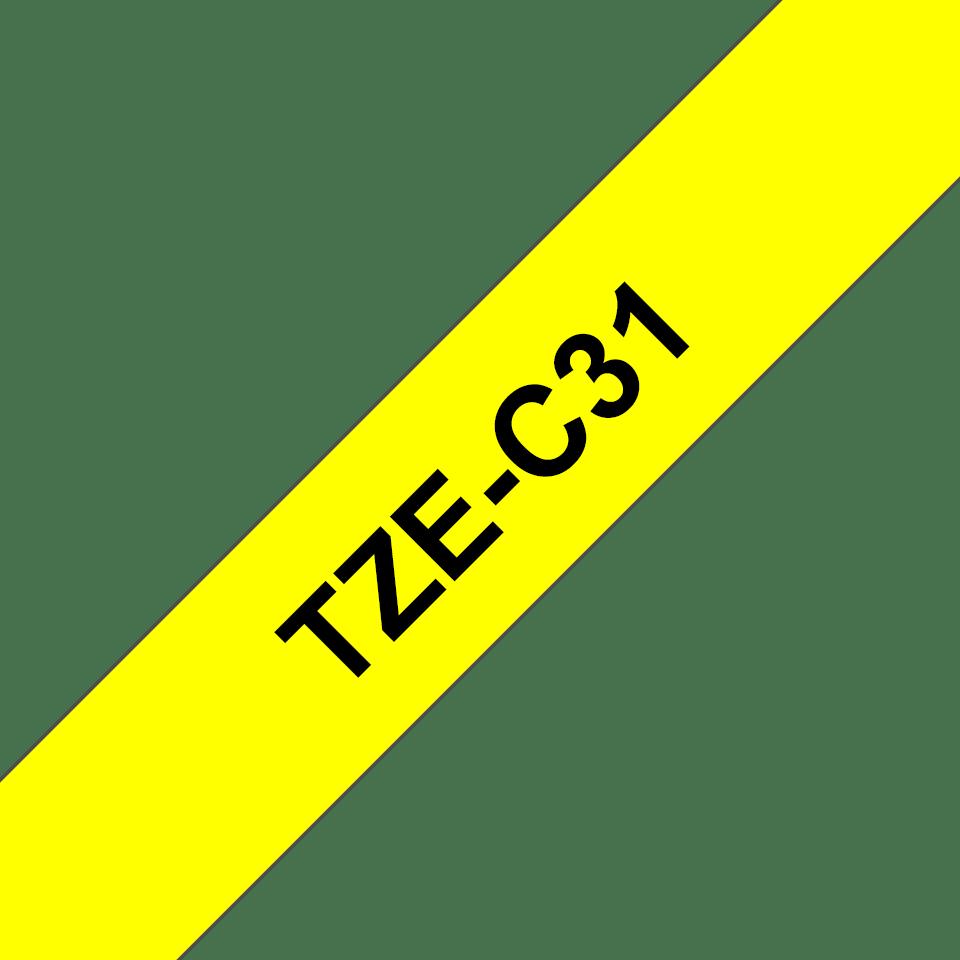 Brother TZeC31 original etikettape, svart på fluorescerande gul, 12 mm 3