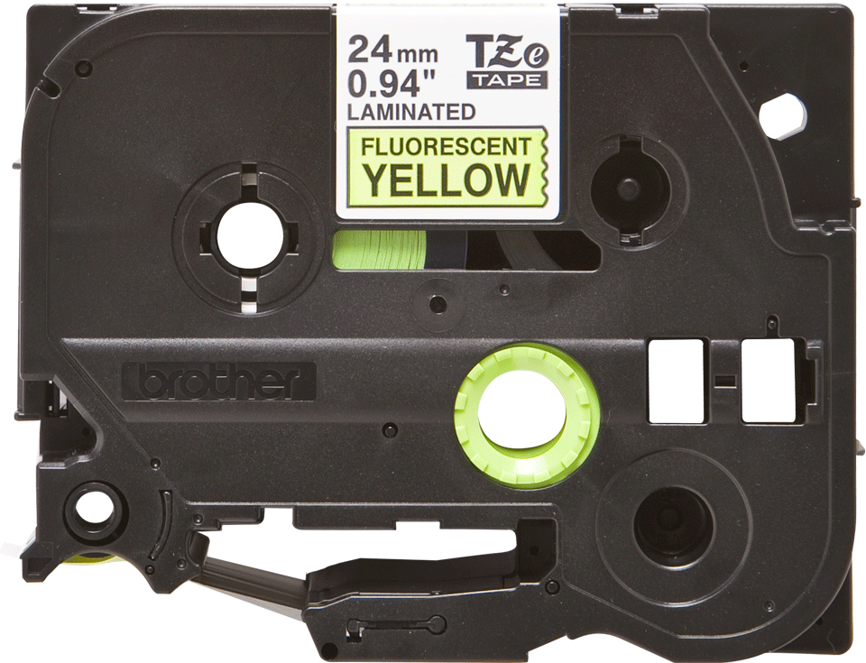Brother TZeC51 original etikettape, svart på fluorescerande gul, 24 mm