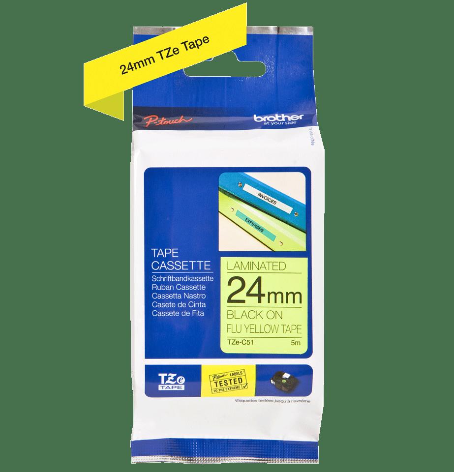 Brother TZeC51 original etikettape, svart på fluorescerande gul, 24 mm 2