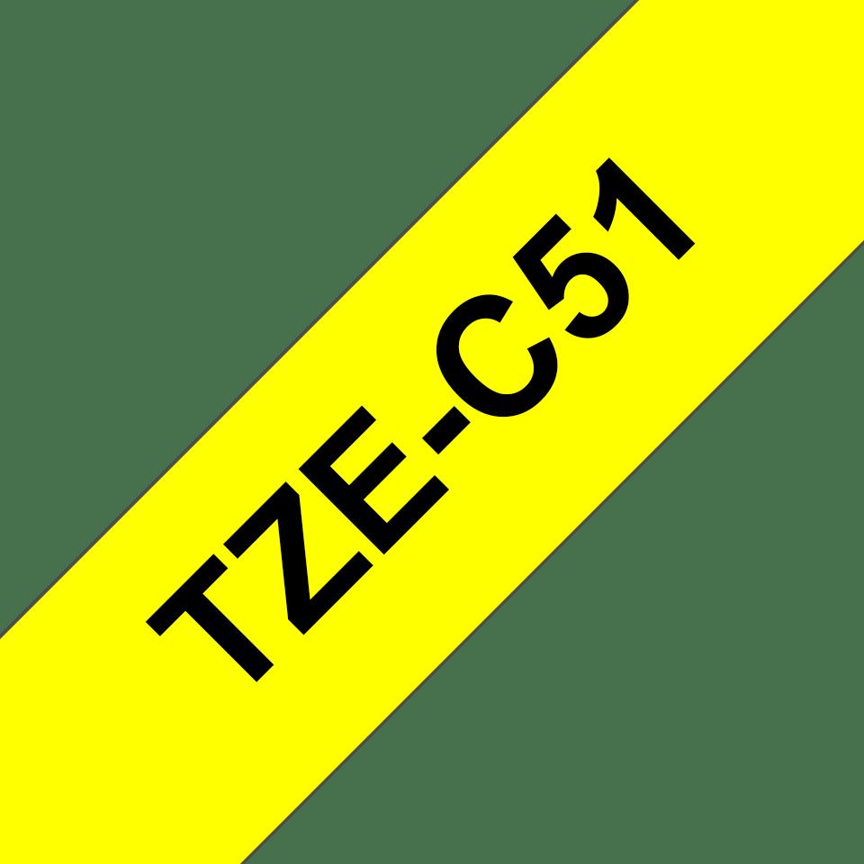 Brother TZeC51 original etikettape, svart på fluorescerande gul, 24 mm 3
