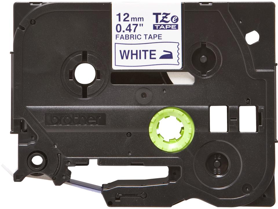 Brother TZe-FA3 tygtape - blå på vit, 12 mm bred