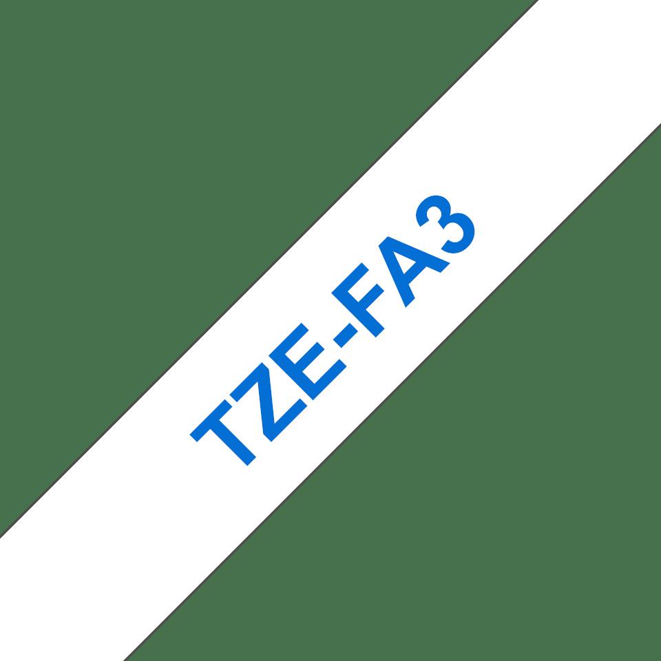 Brother TZe-FA3 tygtape - blå på vit, 12 mm bred 3