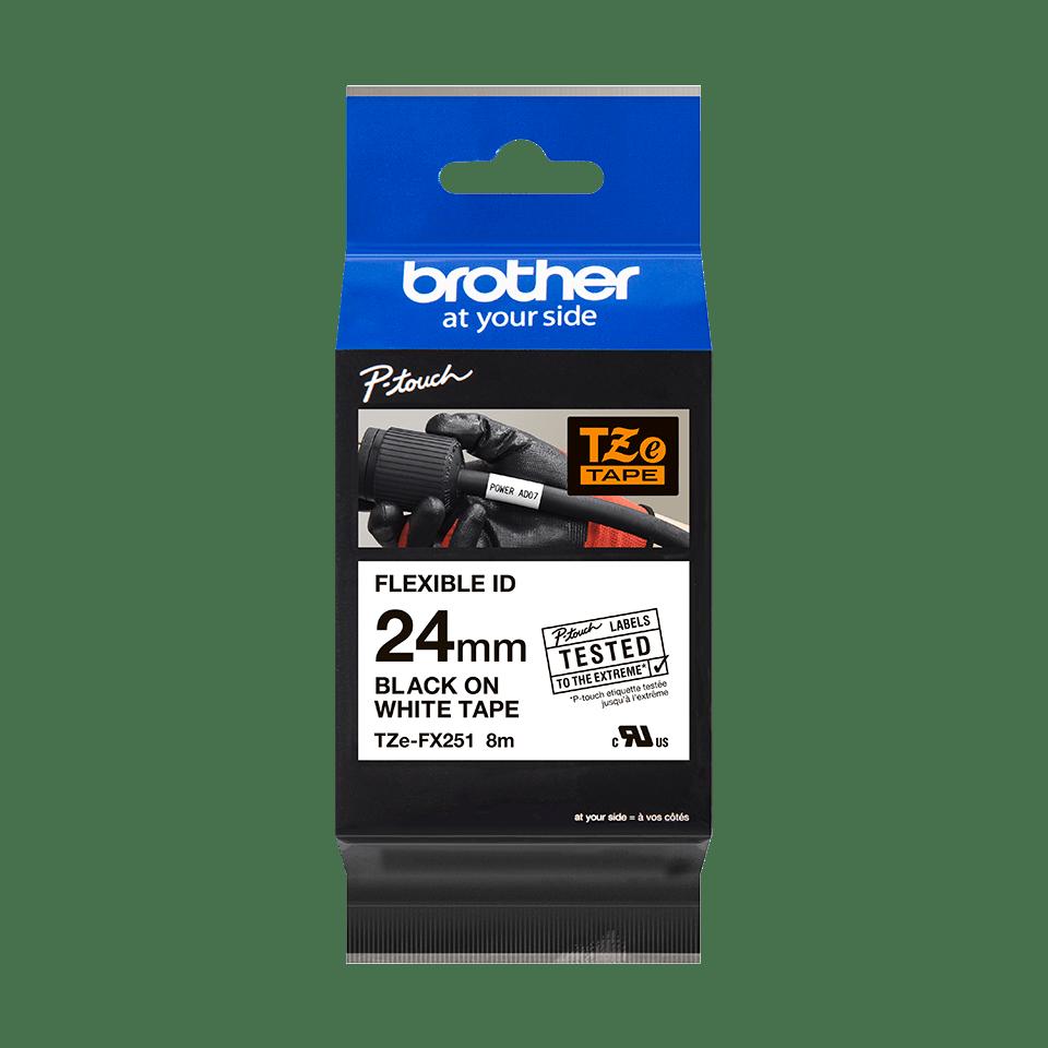 Brother TZeFX251 original etikettape, svart på vit, 24 mm 2