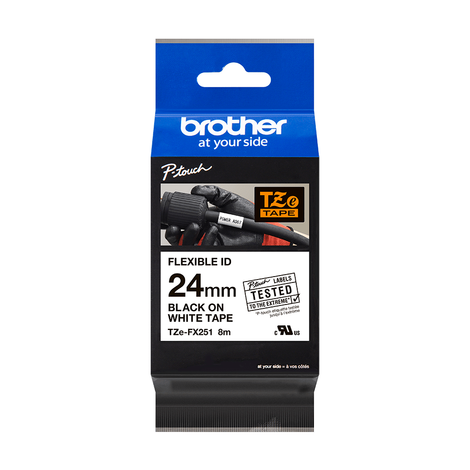 Brother TZeFX251 original etikettape, svart på vit, 24 mm 2