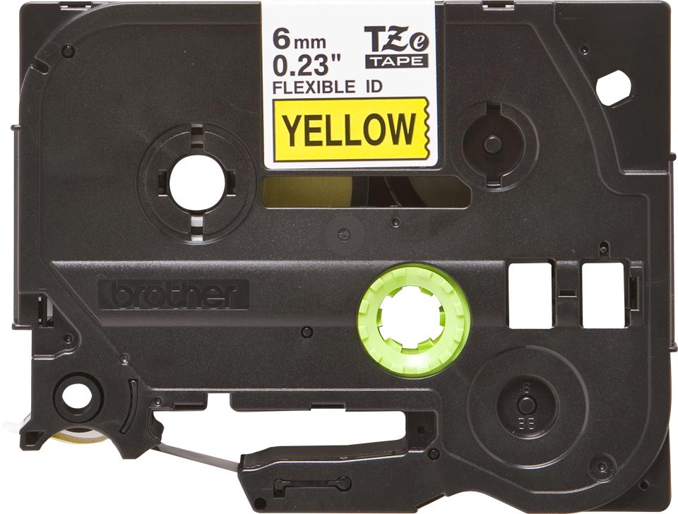 Brother TZeFX611 original etikettape, svart på gul, 6 mm