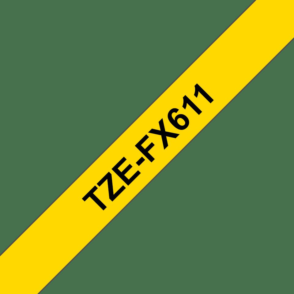 Brother TZeFX611 original etikettape, svart på gul, 6 mm  3
