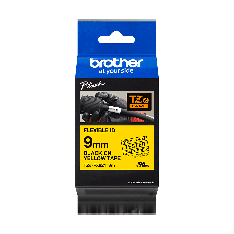 Brother TZeFX621 original etikettape, svart på gul, 9 mm  2