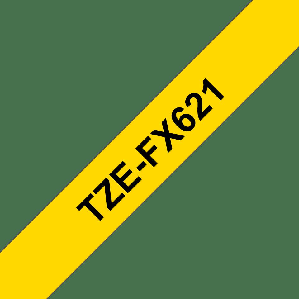 Brother TZeFX621 original etikettape, svart på gul, 9 mm  3