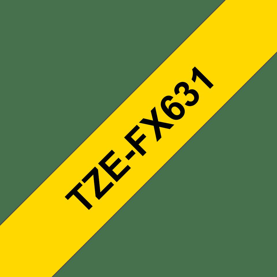 Brother TZeFX631 original etikettape, svart på gul, 12 mm 3