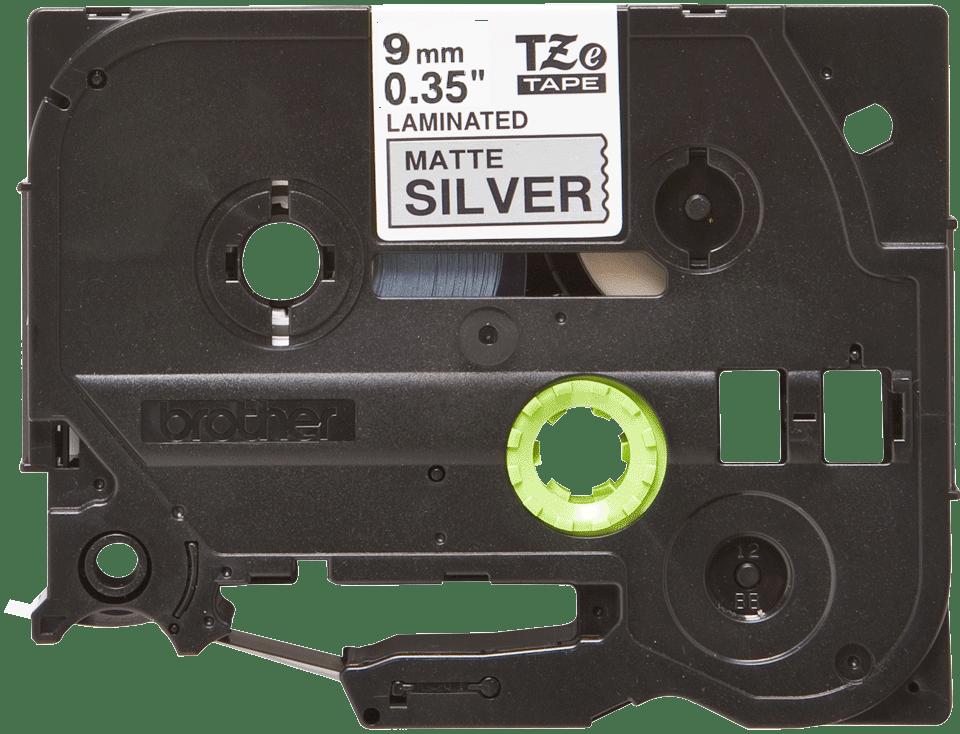 Brother TZeM921 original etikettape, svart på matt silver, 9 mm