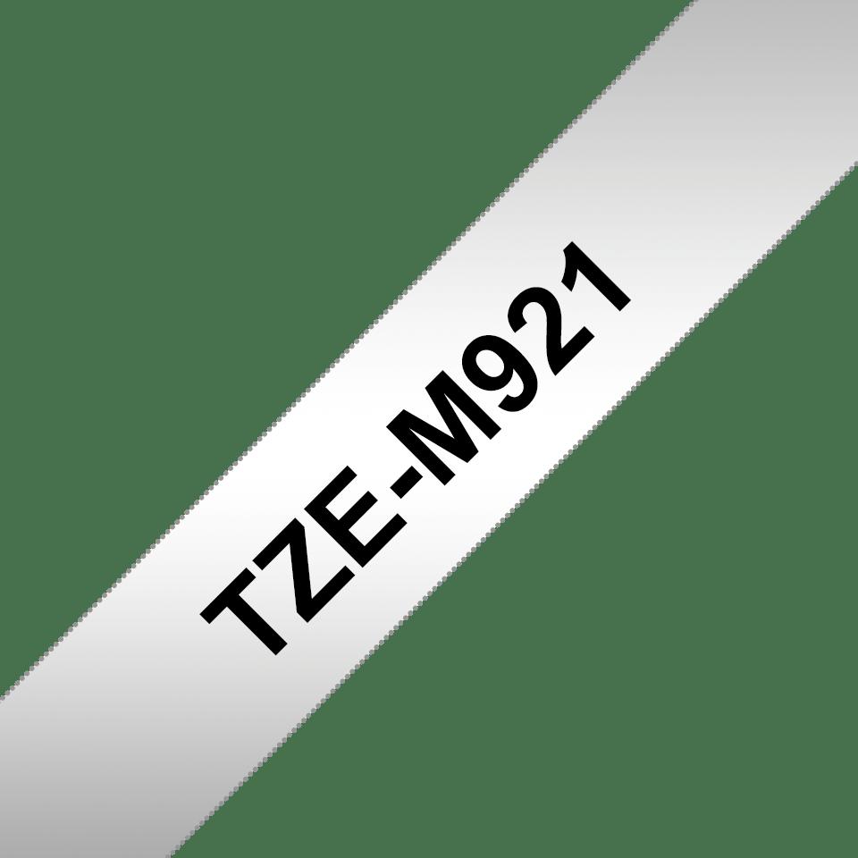 Brother TZeM921 original etikettape, svart på matt silver, 9 mm  3