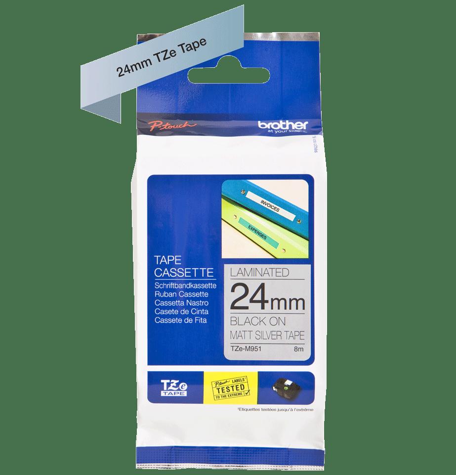 Brother TZe-M951 original P-touch etikettape- svart på silvermetallisk matt tape, 24 mm bred 2