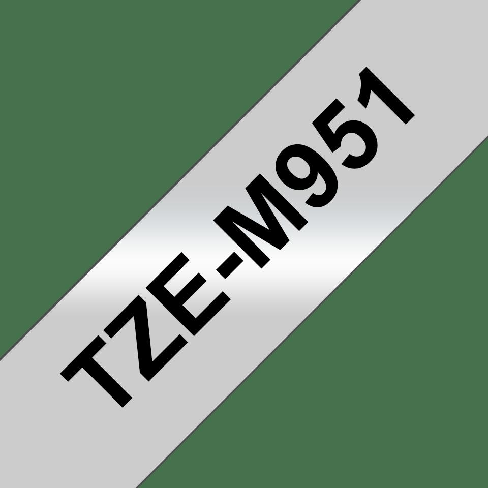 Brother TZe-M951 original P-touch etikettape- svart på silvermetallisk matt tape, 24 mm bred 3