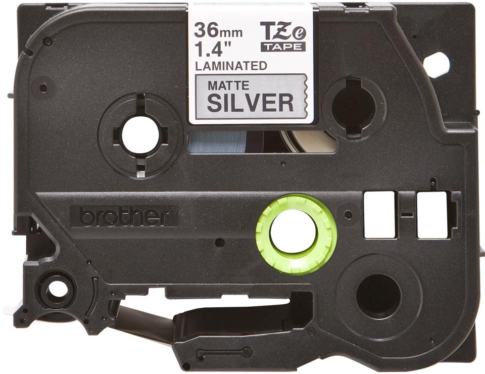 Brother TZeM961 original etiketetikettape, svart på matt silver, 36 mm