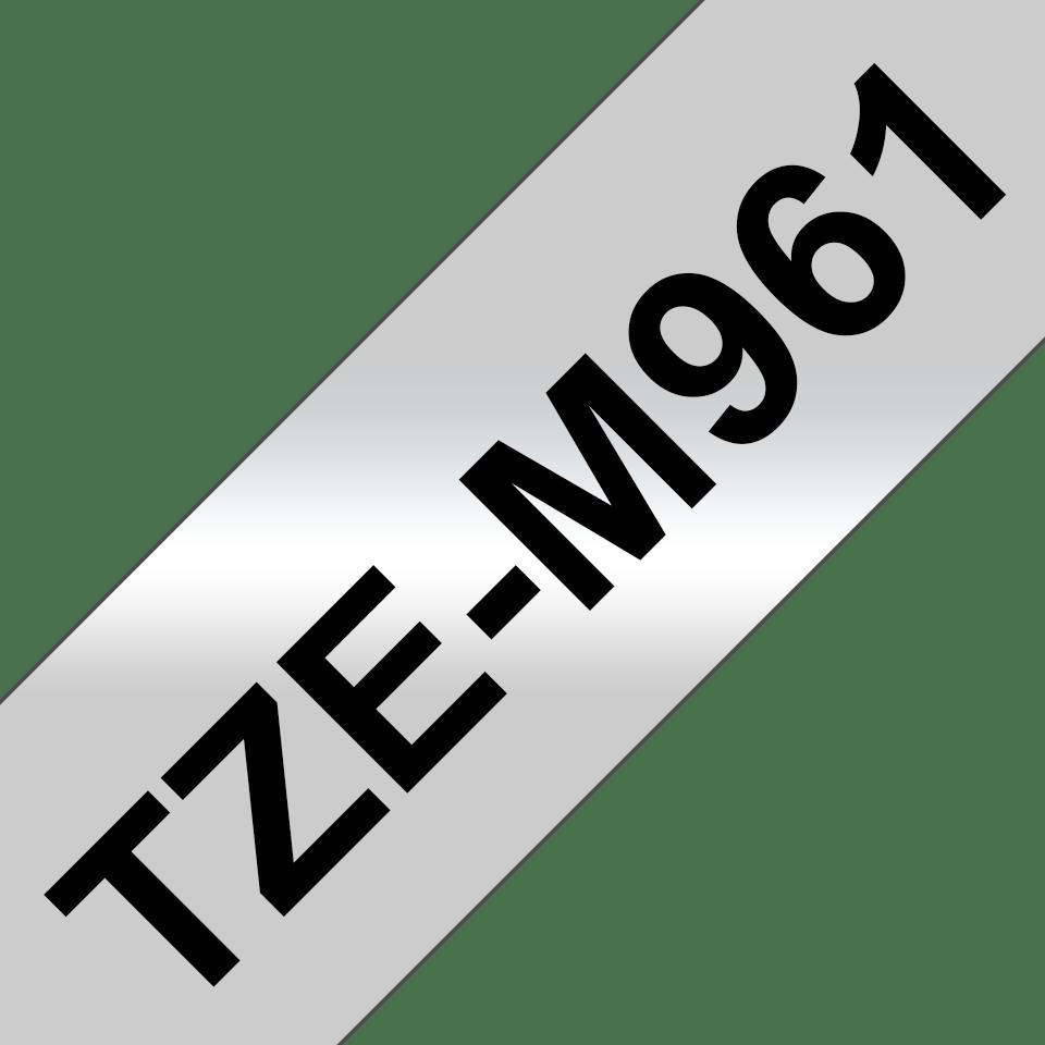 Brother TZeM961 original etiketetikettape, svart på matt silver, 36 mm  3